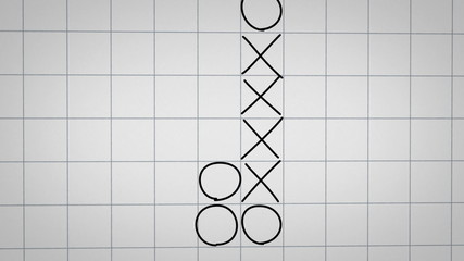 tick tack toe game on checked paper animation