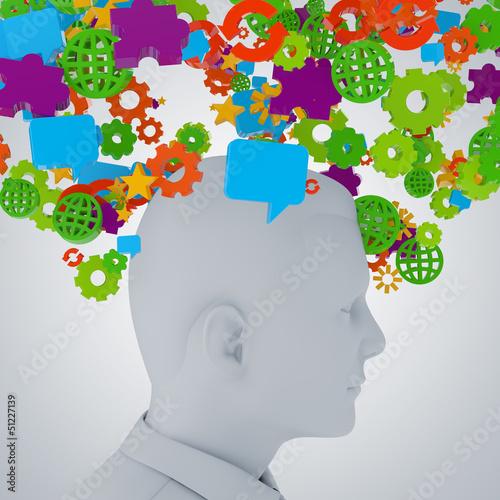 Gedanken im Kopf / Informationsflut - 3D Illustration