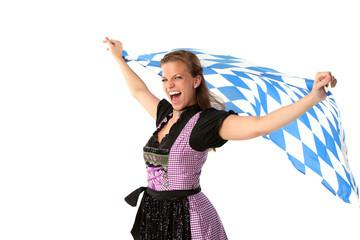 Frau mit bayerischer Fahne