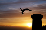 backflip in sunset