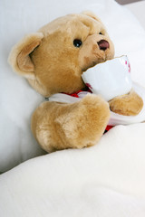 Teddy bear lying in bed and drink cup