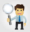 Business man with Magnifying Glass