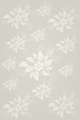Silver vertical floral elements wallpaper