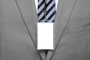 Blank name tag on suit
