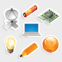 Sticker icon set for industry and technology