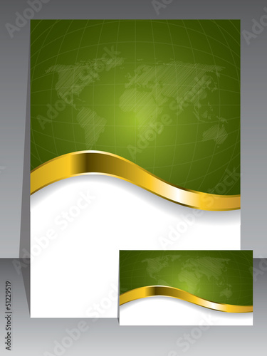 Business card and brochure in green with gold wave
