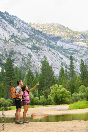Hiking people on hike in mountains in Yosemite