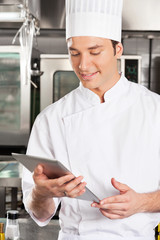 Chef Using Digital Tablet