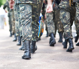 Soldiers march in formation