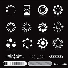 Loading symbols vector set