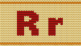 Vector Red knitted alphabet. Letter R