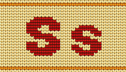 Vector Red knitted alphabet. Letter S
