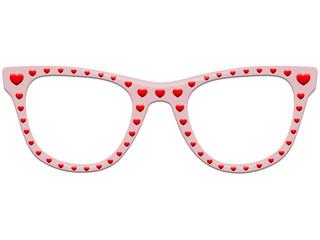 Rosarote Brille mit roten Herzchen – freigestellt