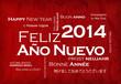 Feliz Año Nuevo 2014 internacional traducción nube de etiquetas