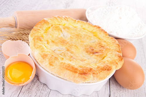 egg, flour and chicken pot pie