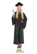 Happy young woman in graduation gown with diploma