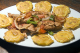 grilled chicken fajita food with local tostones fried plantains