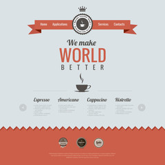 Vintage website design template. Coffee theme. HTML5