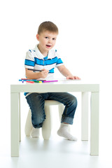 child boy drawing color felt pen