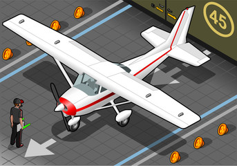 Isometric White Plane in Front View