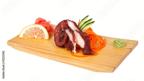 Sashimi with octopus isolated on white