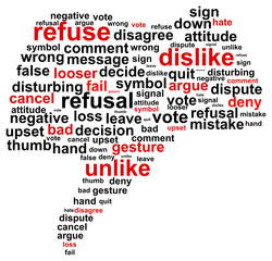 Thumb Down Refuse Word Cloud Concept