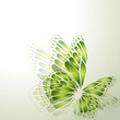 Abstract background with green butterflies