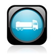 truck black and blue square web glossy icon