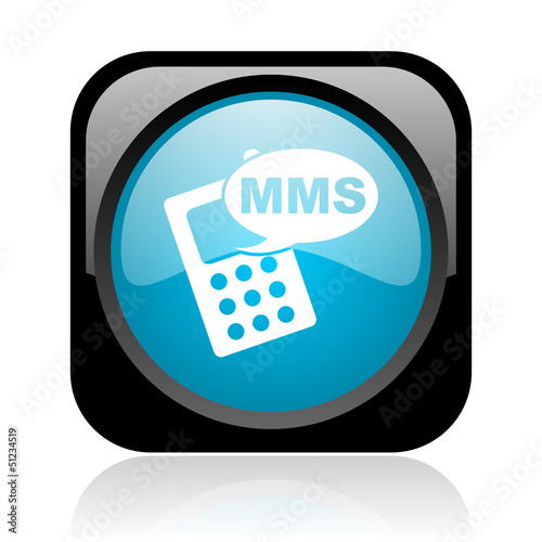 mms black and blue square web glossy icon
