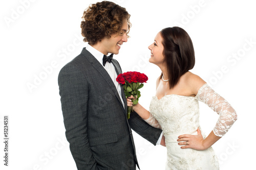 Girl flirting with her man, wedding concept.