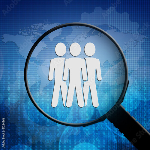 Social people symbol in Magnifying glass