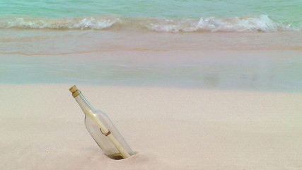 Bottle With Note Washed Up On Tropical Beach, Cancun, Mexico