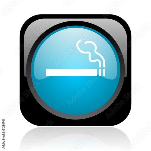 smoking black and blue square web glossy icon