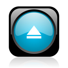 eject black and blue square web glossy icon