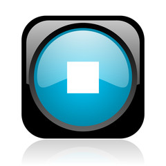 stop black and blue square web glossy icon
