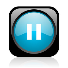 pause black and blue square web glossy icon