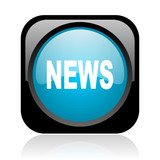 news black and blue square web glossy icon