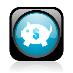 piggy bank black and blue square web glossy icon