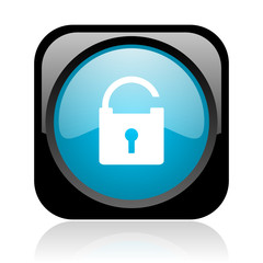padlock black and blue square web glossy icon
