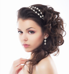 Luxury. Rich Stylish Brunette with Pearly Beads. Elegant Style
