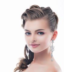 Jewelry. Glamorous Brunette - Brilliant Earrings. Sophistication