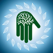 Eco friendly tree in hands illustration