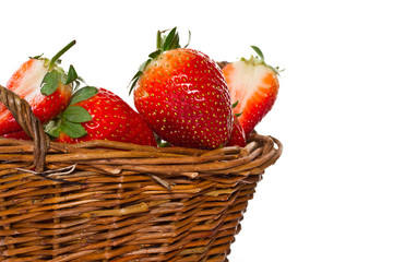 Ripe strawberries in a basket