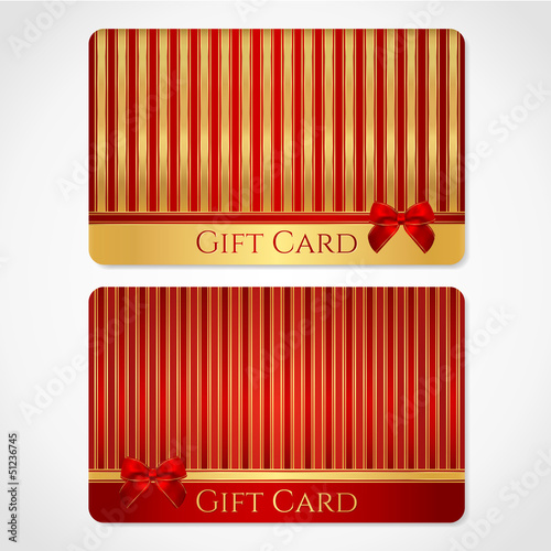 Red and gold gift card (discount card) with stripy pattern