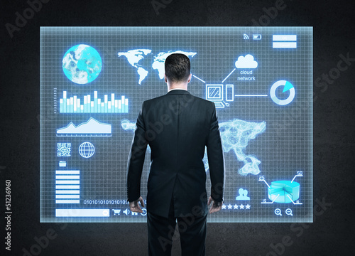 businessman and interface
