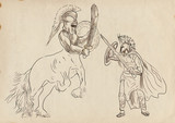 Greek myths (Full sized hand drawing) - Centaur, Theseus poster