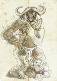 Illustration in ancient Greek myths: MINOTAUR and THESEUS poster
