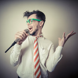 funny stylish businessman singing