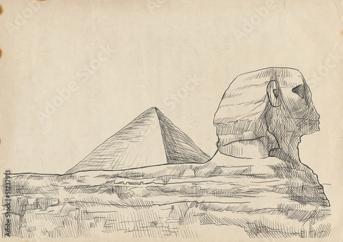 An hand drawn illustration - Pyramid, Sphinx