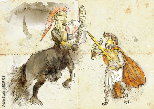 Greek myth and legends (Full sized drawing) - Centaur, Theseus